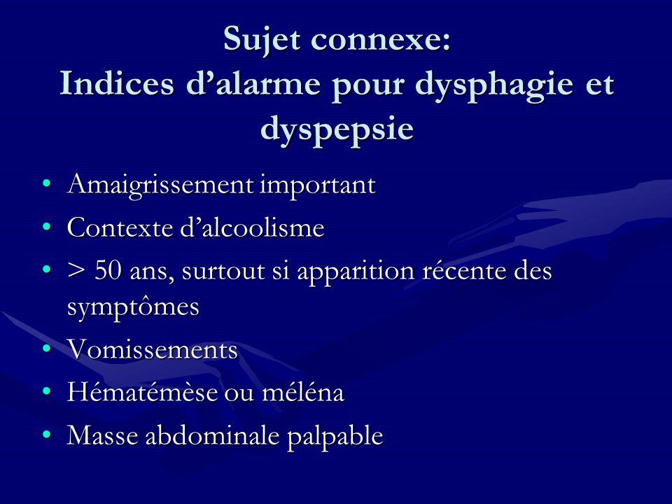 Sujet connexe: Indices d'alarme pour dysphagie et dyspepsie