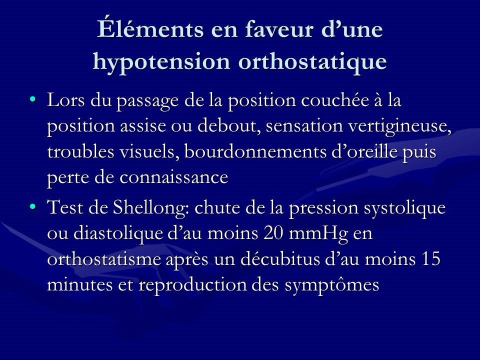 Éléments en faveur d'une hypotension orthostatique