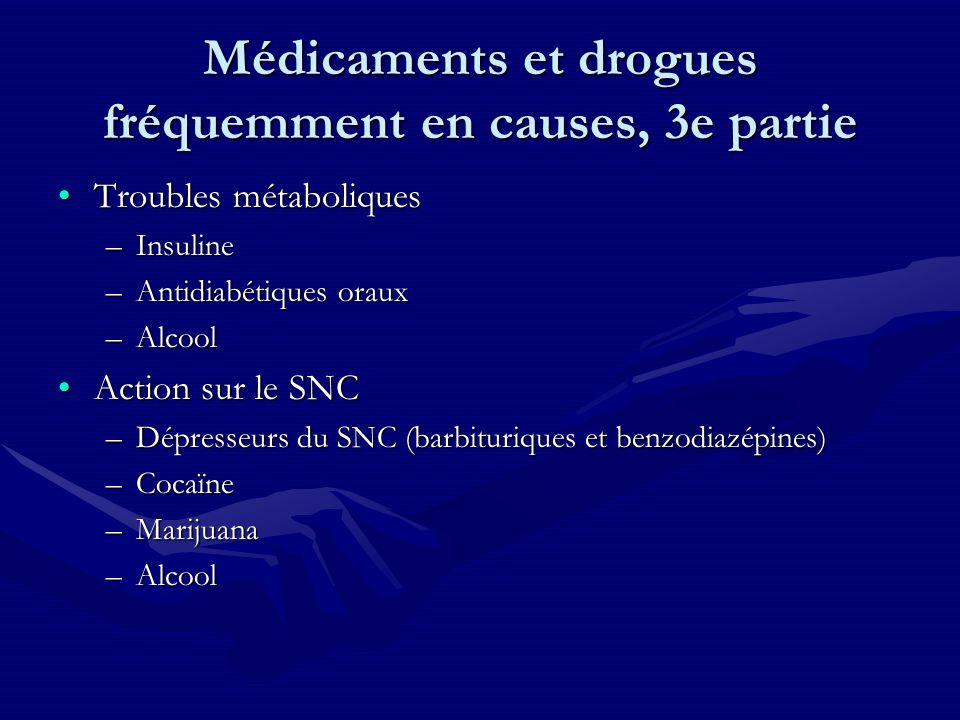 Médicaments et drogues fréquemment en causes, 3e partie