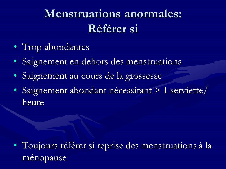 Menstruations anormales: Référer si