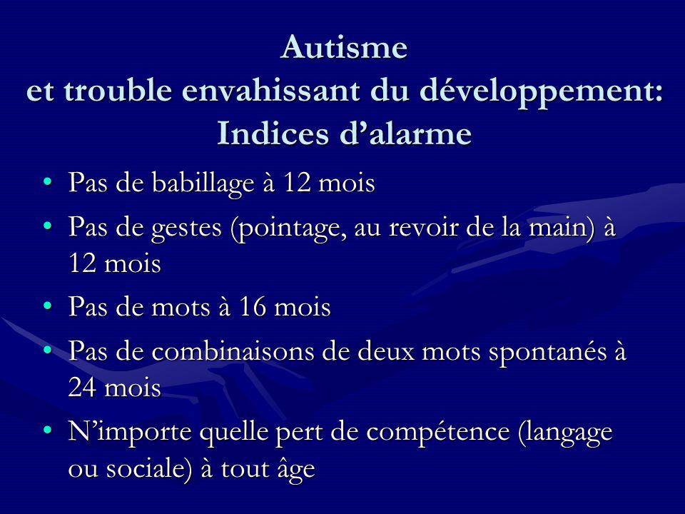 Autisme et trouble envahissant du développement: Indices d'alarme