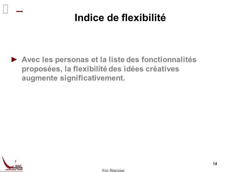 Indice de flexibilité Avec les personas et la liste des fonctionnalités proposées, la flexibilité des idées créatives augmente significativement.
