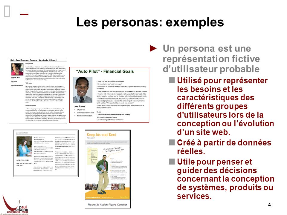 Les personas: exemples