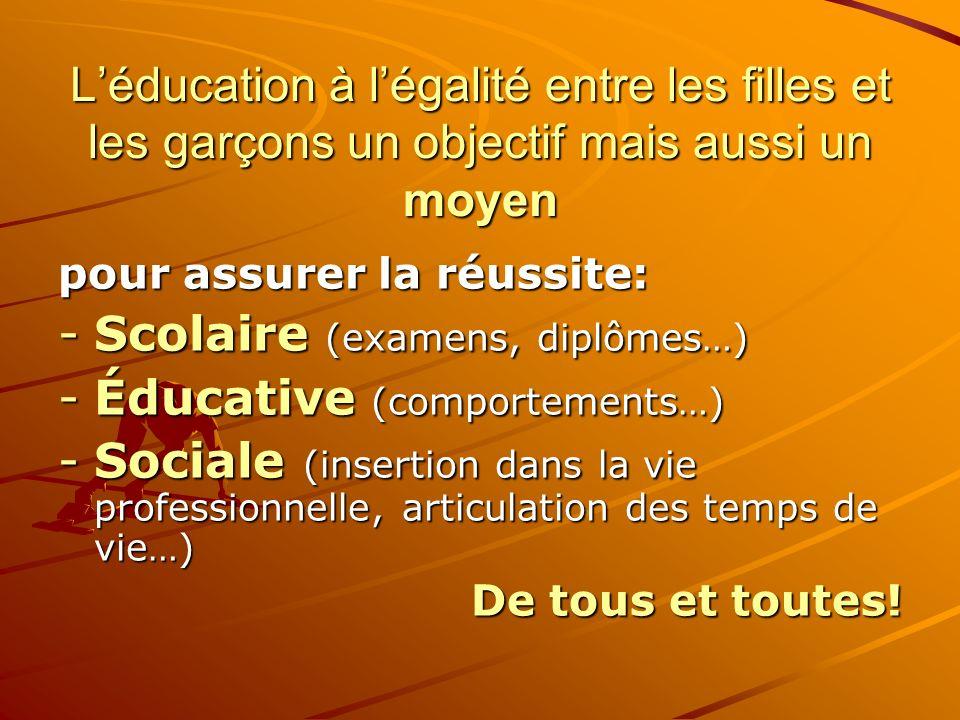Scolaire (examens, diplômes…) Éducative (comportements…)