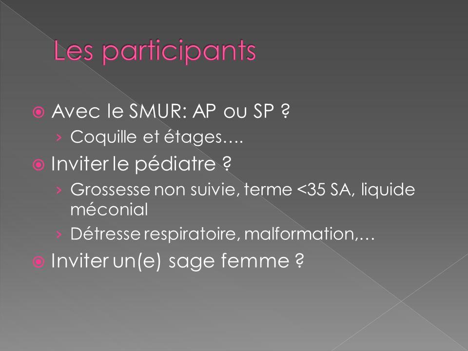 Les participants Avec le SMUR: AP ou SP Inviter le pédiatre