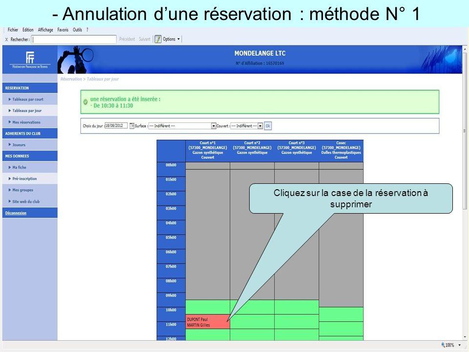 - Annulation d'une réservation : méthode N° 1