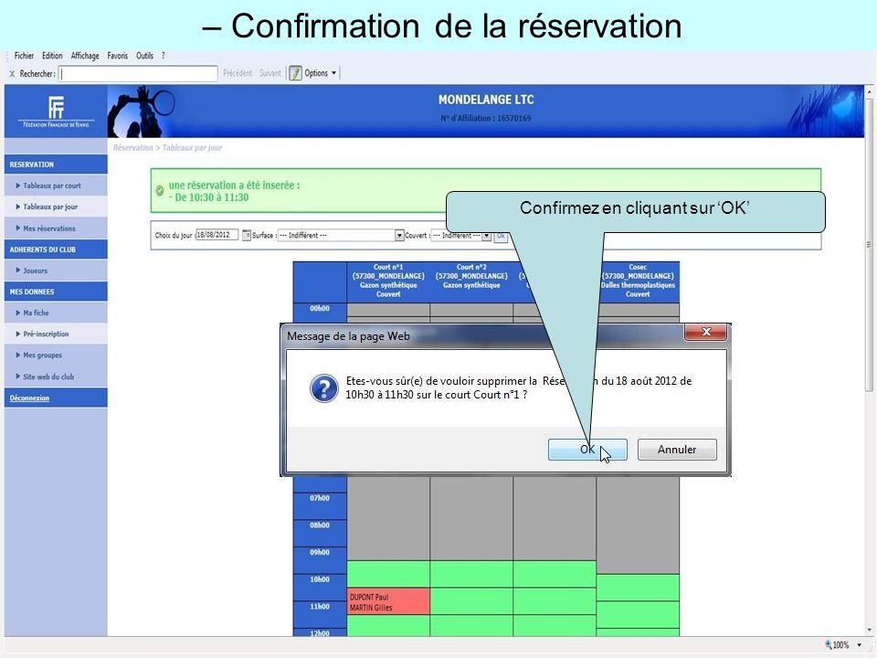 – Confirmation de la réservation