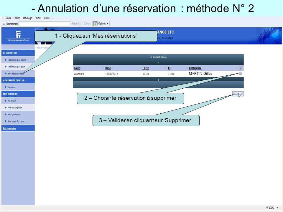 - Annulation d'une réservation : méthode N° 2