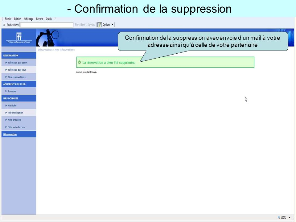 - Confirmation de la suppression