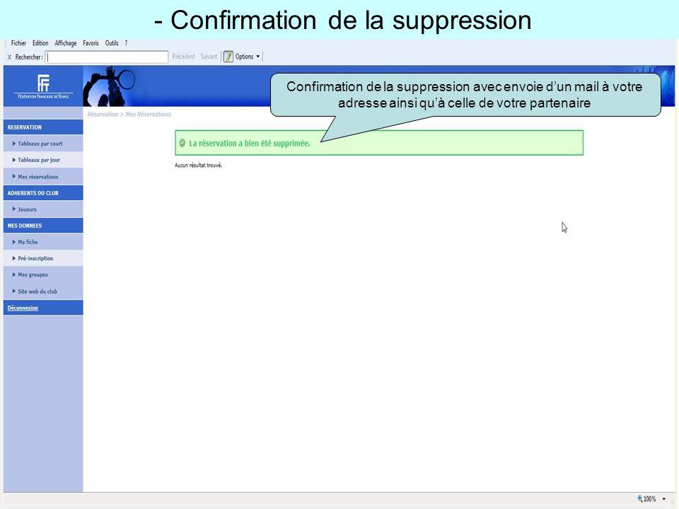 - Confirmation de la suppression