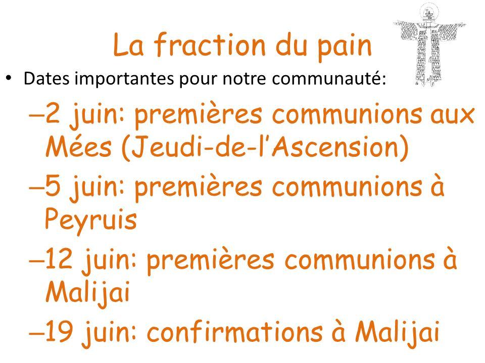 La fraction du pain Dates importantes pour notre communauté: 2 juin: premières communions aux Mées (Jeudi-de-l'Ascension)