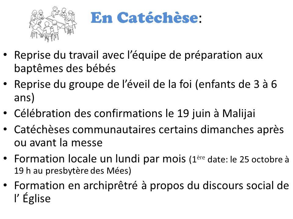 En Catéchèse: Reprise du travail avec l'équipe de préparation aux baptêmes des bébés. Reprise du groupe de l'éveil de la foi (enfants de 3 à 6 ans)
