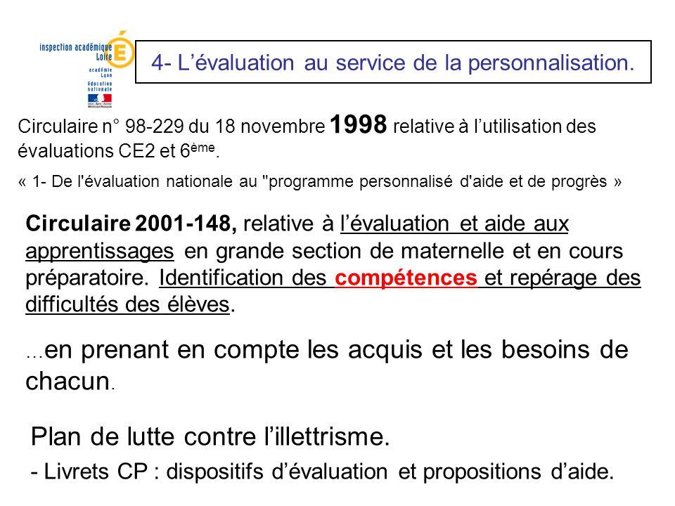 4- L'évaluation au service de la personnalisation.