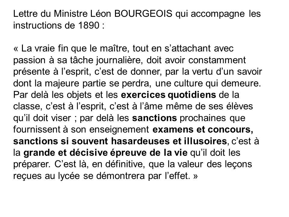 Lettre du Ministre Léon BOURGEOIS qui accompagne les instructions de 1890 :
