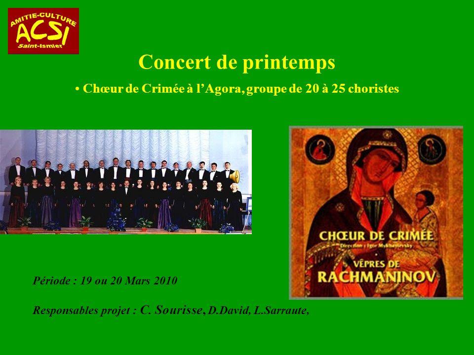 Concert de printemps Chœur de Crimée à l'Agora, groupe de 20 à 25 choristes. Période : 19 ou 20 Mars 2010.