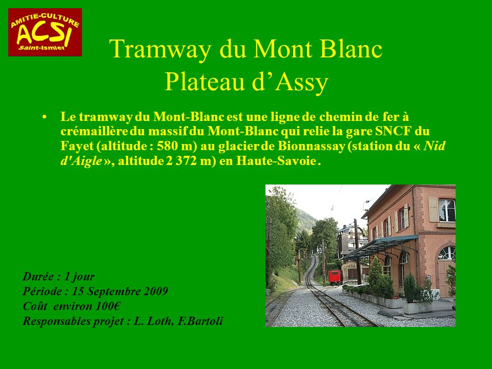 Tramway du Mont Blanc Plateau d'Assy