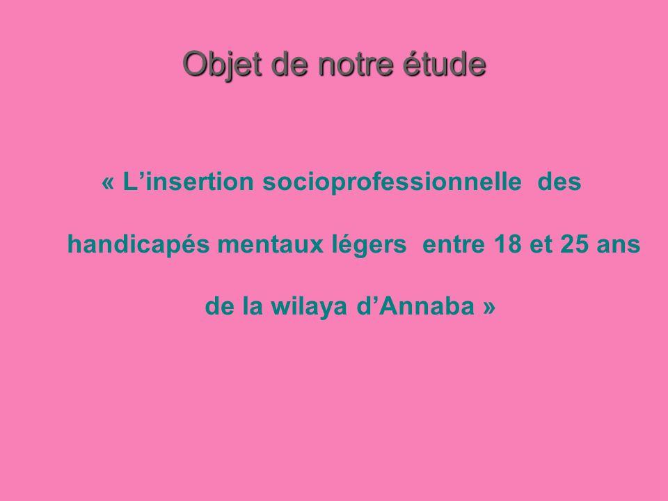 Objet de notre étude « L'insertion socioprofessionnelle des handicapés mentaux légers entre 18 et 25 ans de la wilaya d'Annaba »
