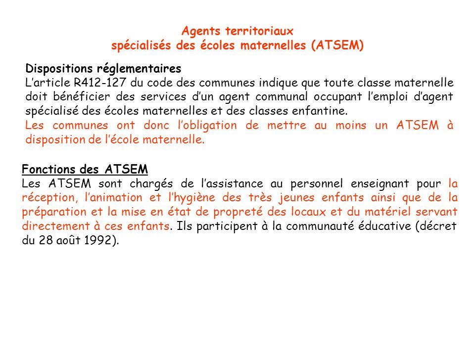 spécialisés des écoles maternelles (ATSEM)