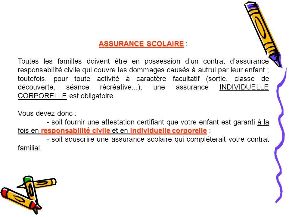 ASSURANCE SCOLAIRE :