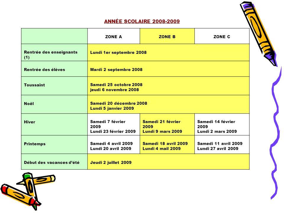 ANNÉE SCOLAIRE 2008-2009 ZONE A ZONE B ZONE C
