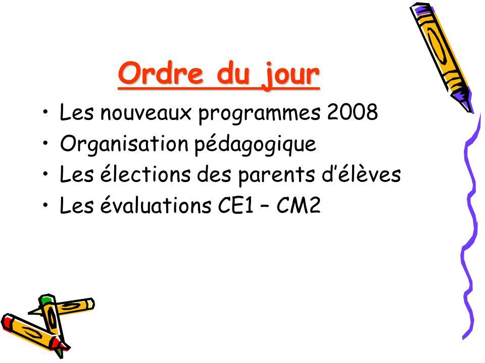 Ordre du jour Les nouveaux programmes 2008 Organisation pédagogique