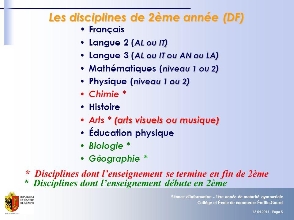 Les disciplines de 2ème année (DF)