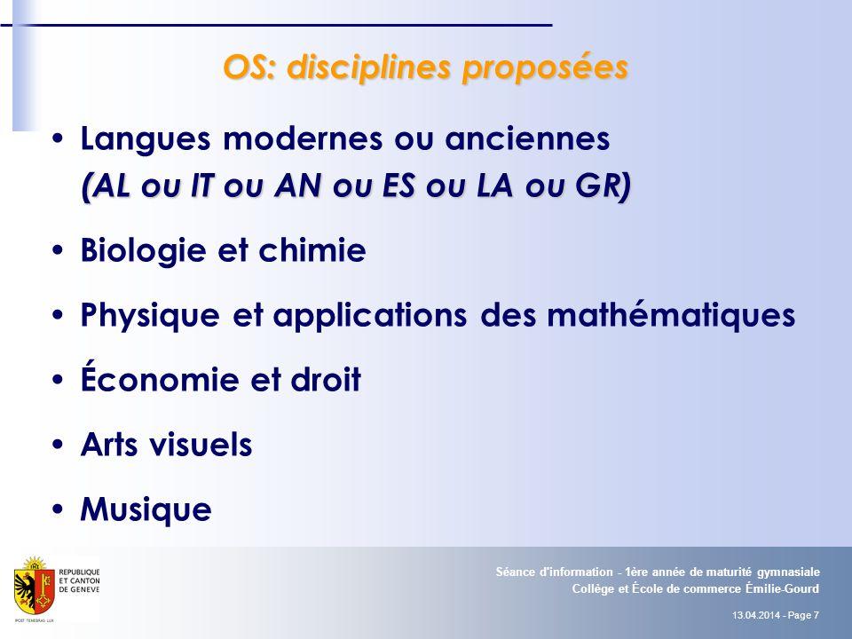 OS: disciplines proposées