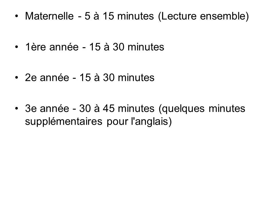 Maternelle - 5 à 15 minutes (Lecture ensemble)
