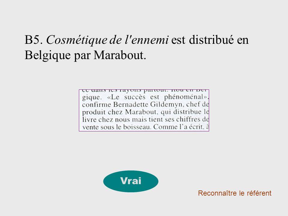 B5. Cosmétique de l ennemi est distribué en Belgique par Marabout.