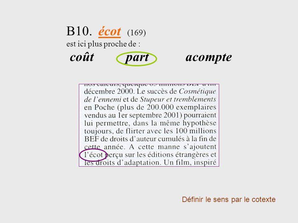 B10. écot (169) est ici plus proche de : coût part acompte