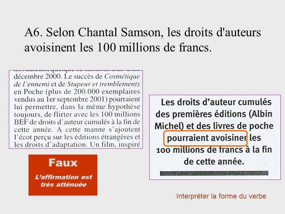 A6. Selon Chantal Samson, les droits d auteurs avoisinent les 100 millions de francs.