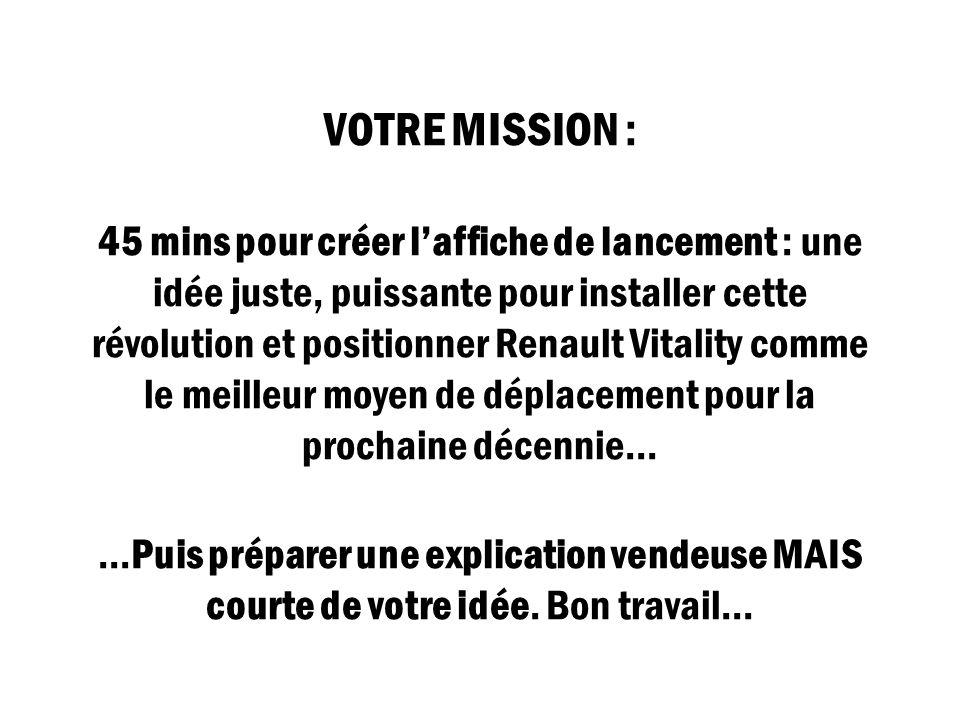 VOTRE MISSION : 45 mins pour créer l'affiche de lancement : une idée juste, puissante pour installer cette révolution et positionner Renault Vitality comme le meilleur moyen de déplacement pour la prochaine décennie… …Puis préparer une explication vendeuse MAIS courte de votre idée.
