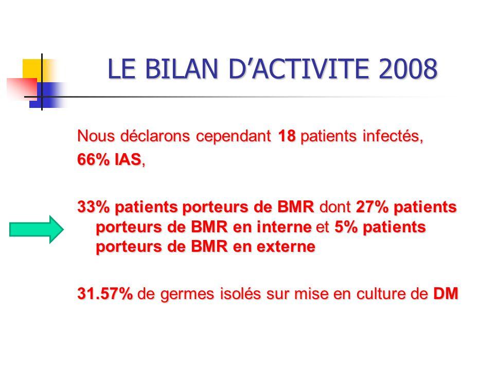 LE BILAN D'ACTIVITE 2008