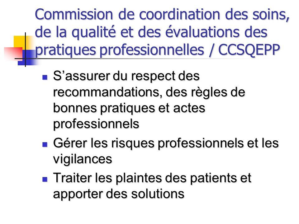 Commission de coordination des soins, de la qualité et des évaluations des pratiques professionnelles / CCSQEPP