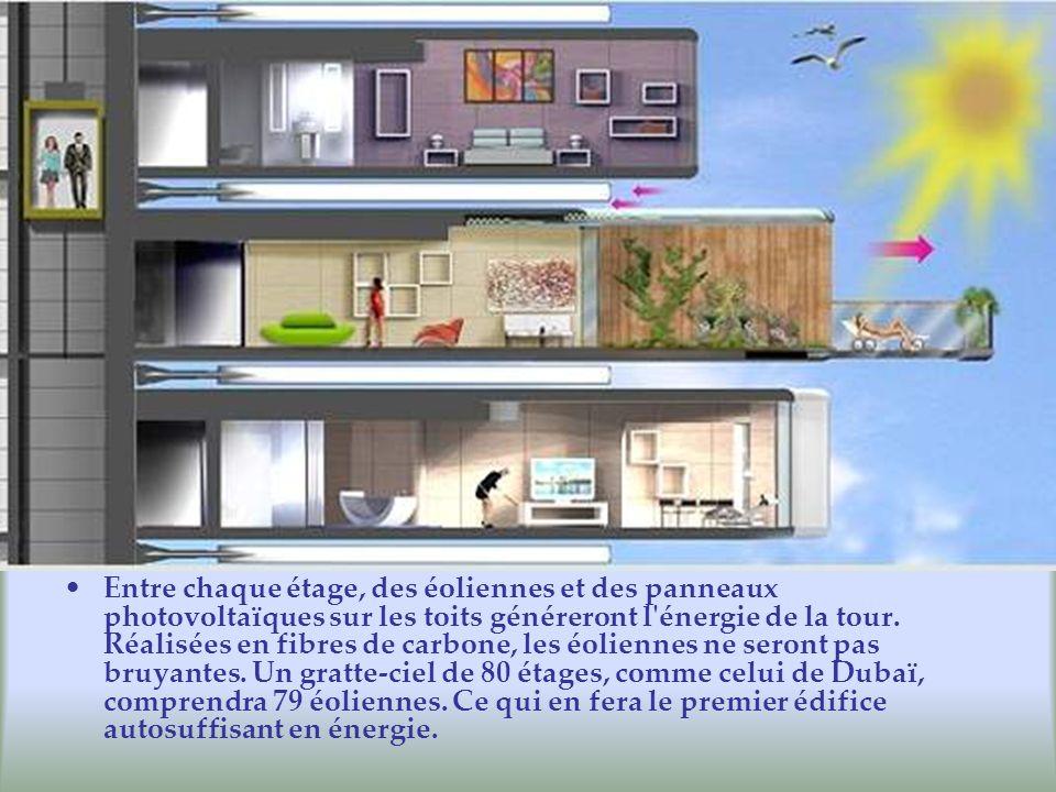 Entre chaque étage, des éoliennes et des panneaux photovoltaïques sur les toits généreront l énergie de la tour.