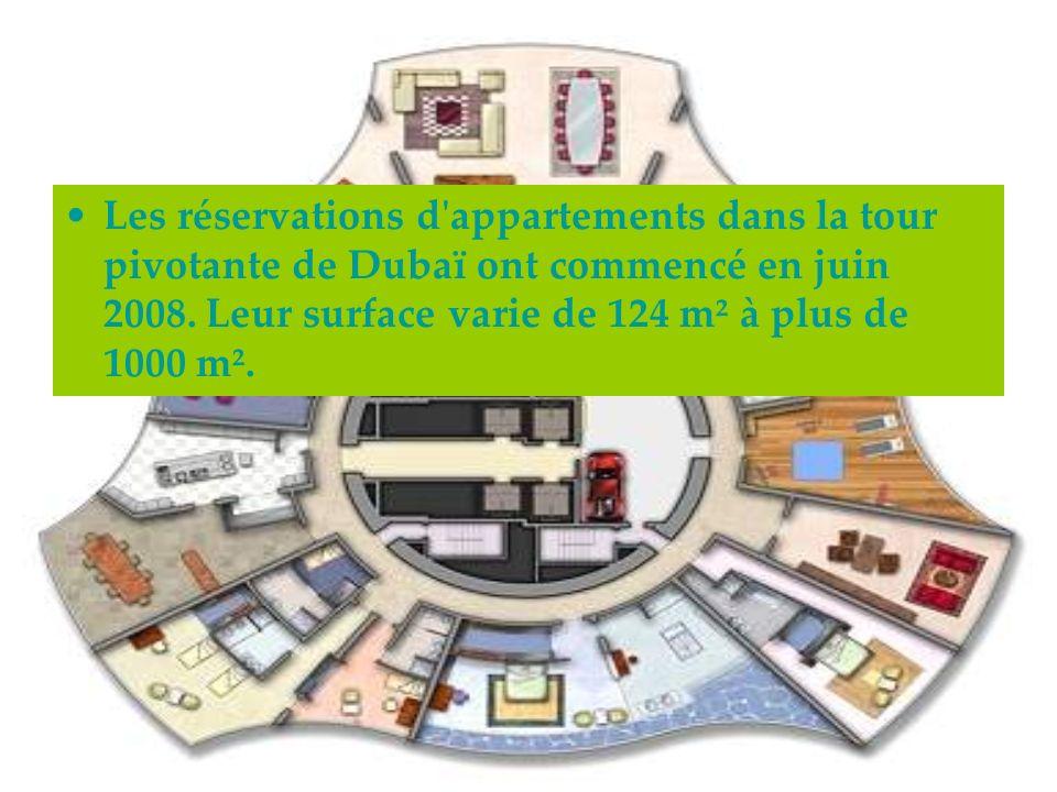 Les réservations d appartements dans la tour pivotante de Dubaï ont commencé en juin 2008.