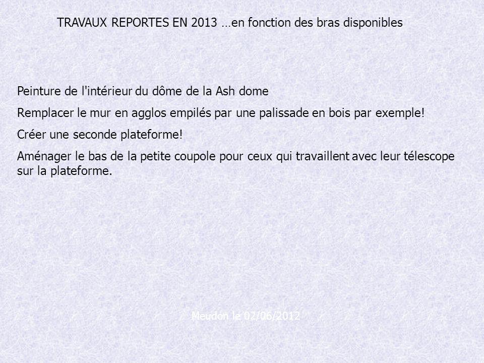 TRAVAUX REPORTES EN 2013 …en fonction des bras disponibles