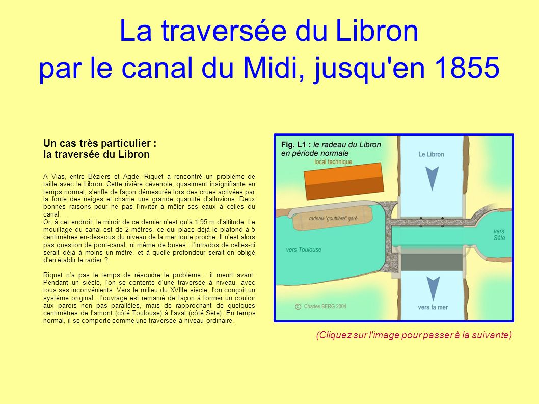 La traversée du Libron par le canal du Midi, jusqu en 1855