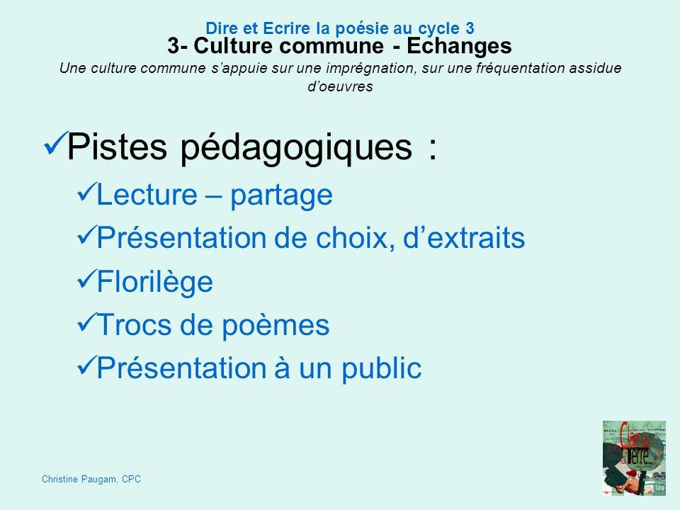 Pistes pédagogiques : Lecture – partage