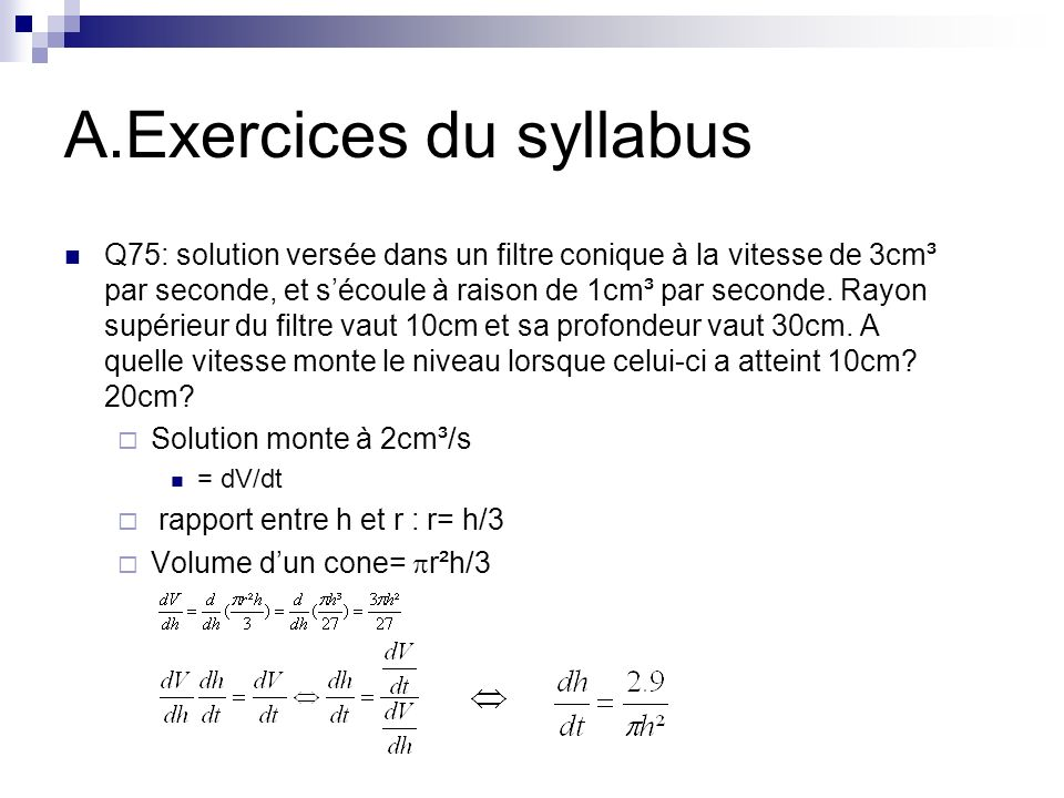 A.Exercices du syllabus