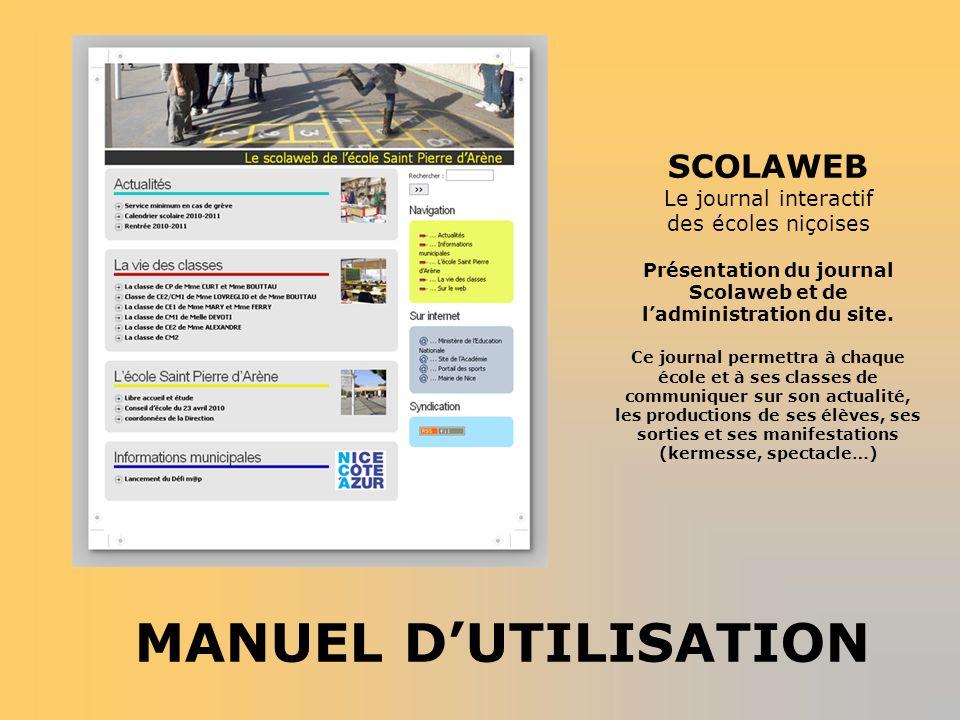 Présentation du journal Scolaweb et de l'administration du site.