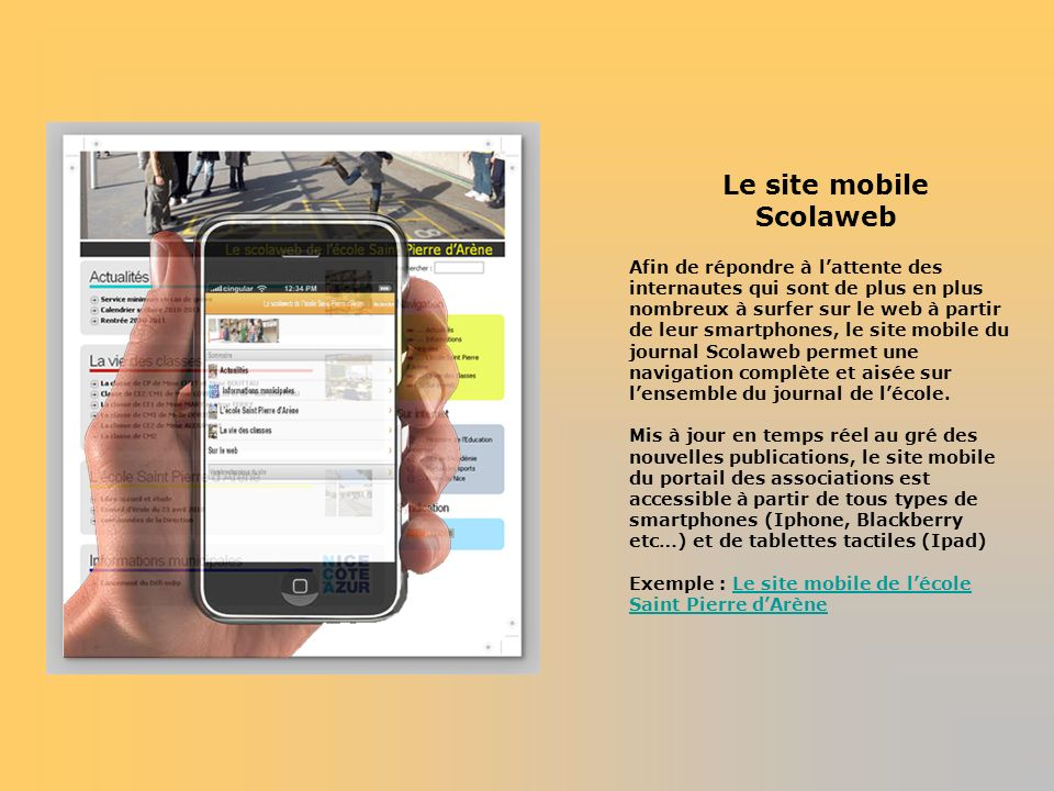Le site mobile Scolaweb