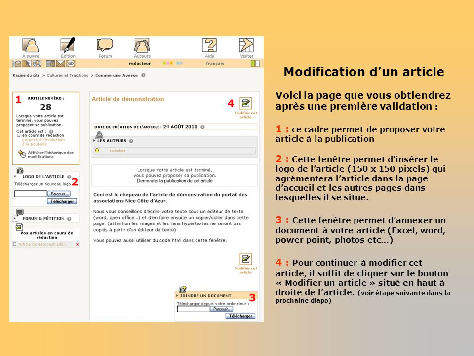 Modification d'un article