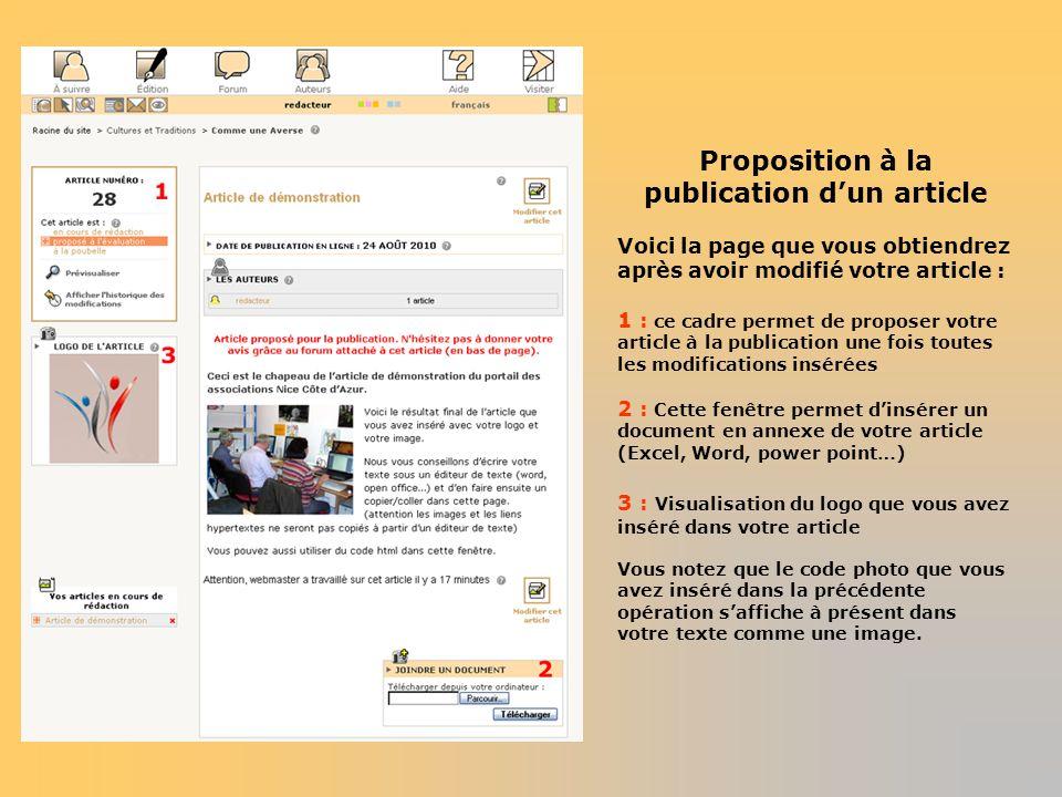 Proposition à la publication d'un article