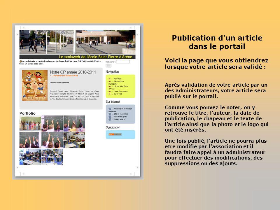 Publication d'un article dans le portail