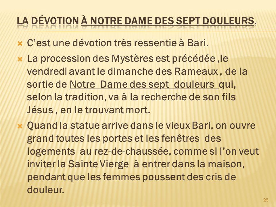 La dévotion à Notre Dame des sept douleurs.