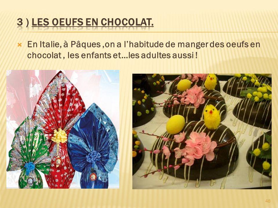 3 ) LES OEUFS EN CHOCOLAT.