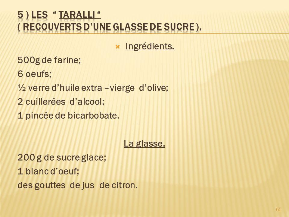 5 ) LES TARALLI ( recouverts d'une glasse de sucre ).