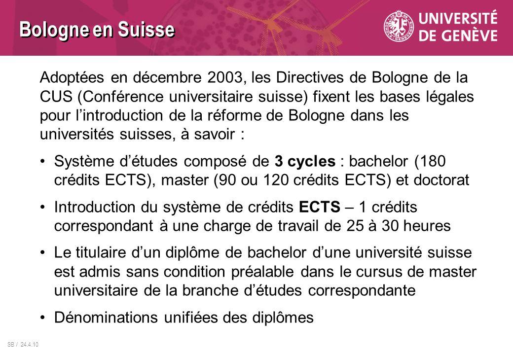 Bologne en Suisse