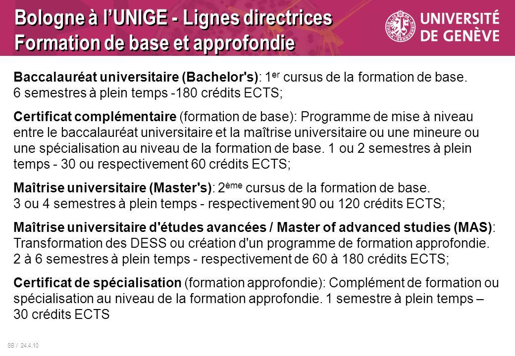 Bologne à l'UNIGE - Lignes directrices Formation de base et approfondie